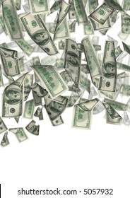 Falling 100 dollar banknotes  on a white background