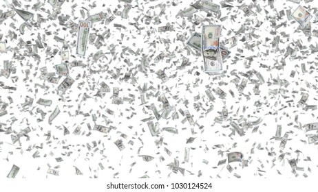 Falling 100 dollars banknotes background. 3D illustration