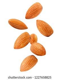 Falling almond isolated on white background, clipping path, full depth of field