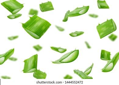Falling Aloe vera, slice, isolated on white background, selective focus