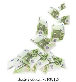 Falling banknotes euro