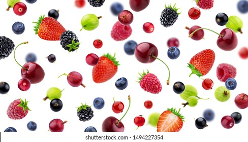 Falling berries pattern isolated on white background, different flying forest berries