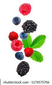 Falling berry mix isolated on a white background.