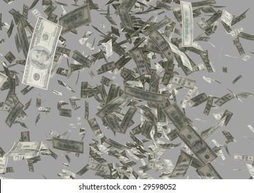 falling bills of the dollars