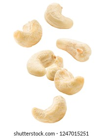 Falling cashew nut isolated on white background, clipping path, full depth of field
