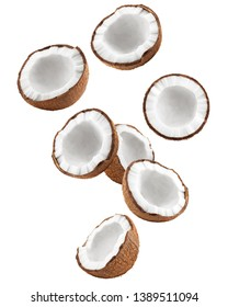 Falling coconut, isolated on white background, full depth of field, clipping path