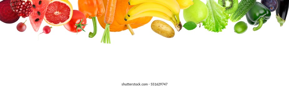 Falling of color fruits and vegetables on white background. Fresh food. Concept