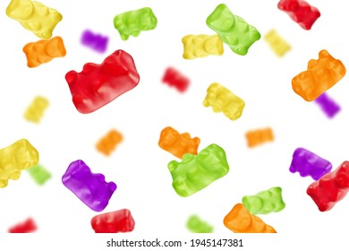 Falling Colorful jelly gummy bear, isolated on white background, selective focus