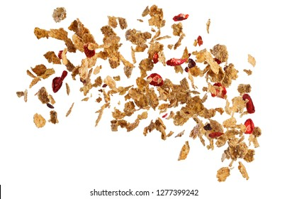 Falling corn flakes and fruits isolated on white background