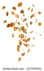 Falling corn flakes isolated on white background