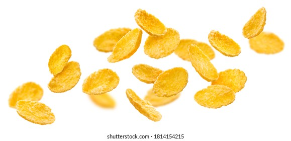 Falling corn flakes isolated on white background with clipping path