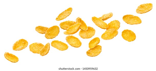Falling corn flakes. Traditional dry breakfast cereal isolated, flying cornflakes on white background, with clipping path