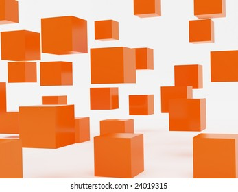 Falling cubes of orange colour. High resolution image. 3d illustration over  white backgrounds.