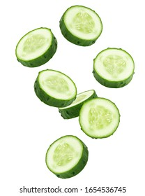 Falling cucumber slice isolated on white background, clipping path, full depth of field - Shutterstock ID 1654536745