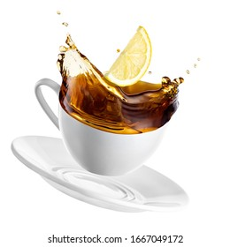 falling cup with tea splash and slice of lemon isolated on white background