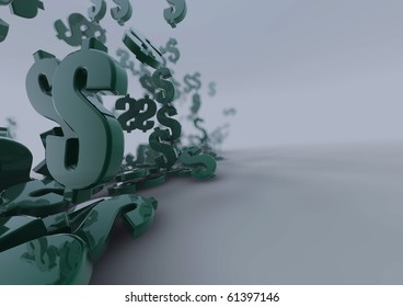 Falling dollar symbols