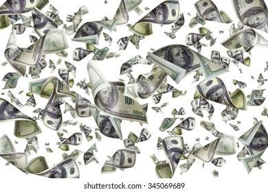 Falling dollars isolated on white background