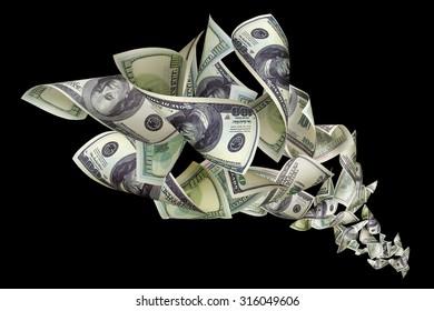 Falling dollars on black background