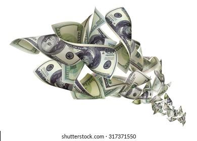 Falling dollars on white background