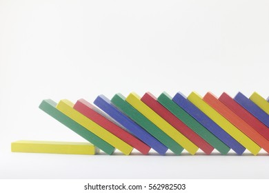 Falling dominoes.