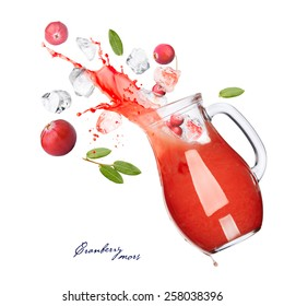 Falling down pitcher of cranberry juice with splash. Jug full of russian mors