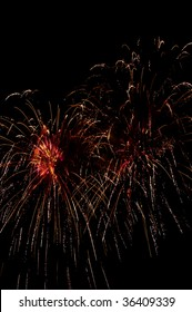 Falling embers from bursts of fireworks