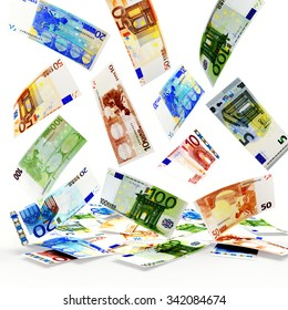 Falling euro bills of various denominations isolated on white background