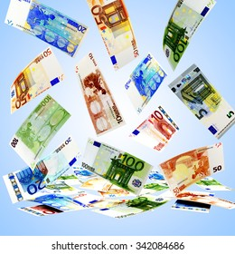 Falling euro bills of various denominations on blue background