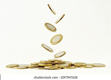 Falling euro coins on white background