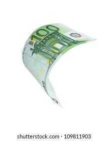 Falling Euro money note - symbol of Euro crisis