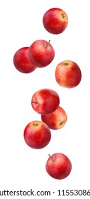Falling (flying) red apples isolated on white background. whole fruit .