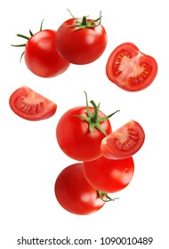 Falling (flying) tomato, isolated on white background. Whole vegetable, halves and slices.