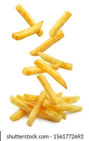 Falling french potato fries, isolated on white background