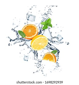 Falling fresh citrus fruits, crystal ice cubes, mint and splashing water on white background