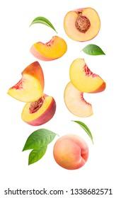 Falling fresh peach isolated on white background