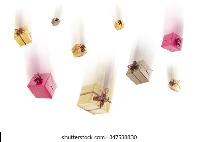 Falling gifts on white background