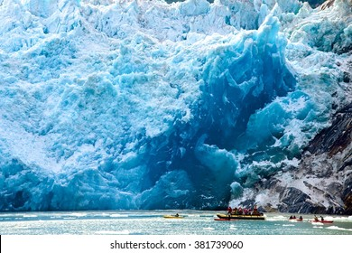Falling glacier in front of the boat