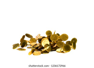 Falling gold coin, flying coin, rain money isolated on white background, business and financial wealth and take profit concept idea.