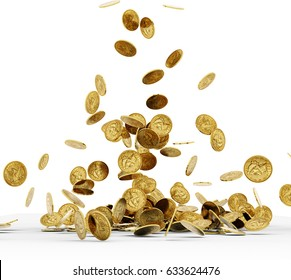 Falling Gold Coins Isolated on white background