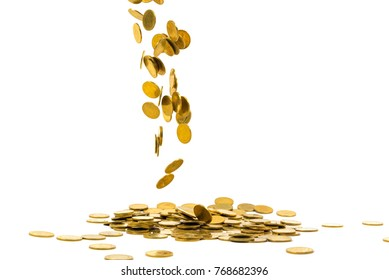 Falling gold coins money isolated on the white background, business wealth concept.