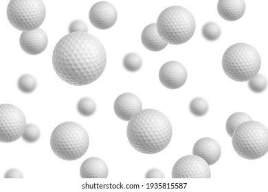Falling Golf ball isolated on white background, selective focus