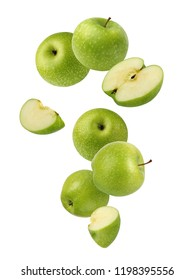 Falling  green apples isolated on white background.  The whole fruit.