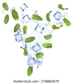 Falling green mint leaves, crystal ice cubes and splash of water on white background