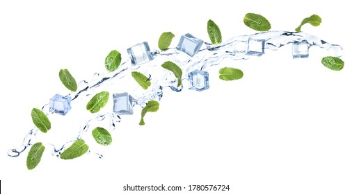 Falling green mint leaves, crystal ice cubes and splash of water on white background. Banner design