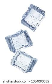 Falling ice cubes, isolated on white background