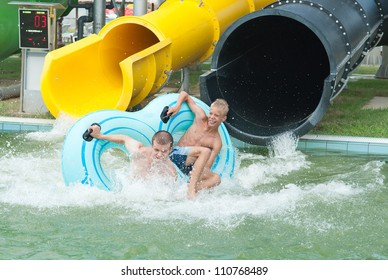 falling into water in the aquapark