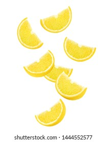 Falling lemon slice, isolated on white background full depth of field, clipping path