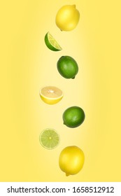 Falling lemons and limes isolated on yellow background with clipping path as package design element and advertising. Flying foods. Floating, hanging fruits in the air. Copy space.