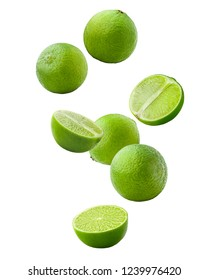 Falling lime isolated on white background, clipping path, full depth of field