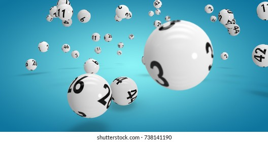 Falling lottery balls  against blue vignette background